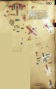 A copy of a 1911 Fire Insurance Map showing the buildings of the Hamilton Hospital for the Insane